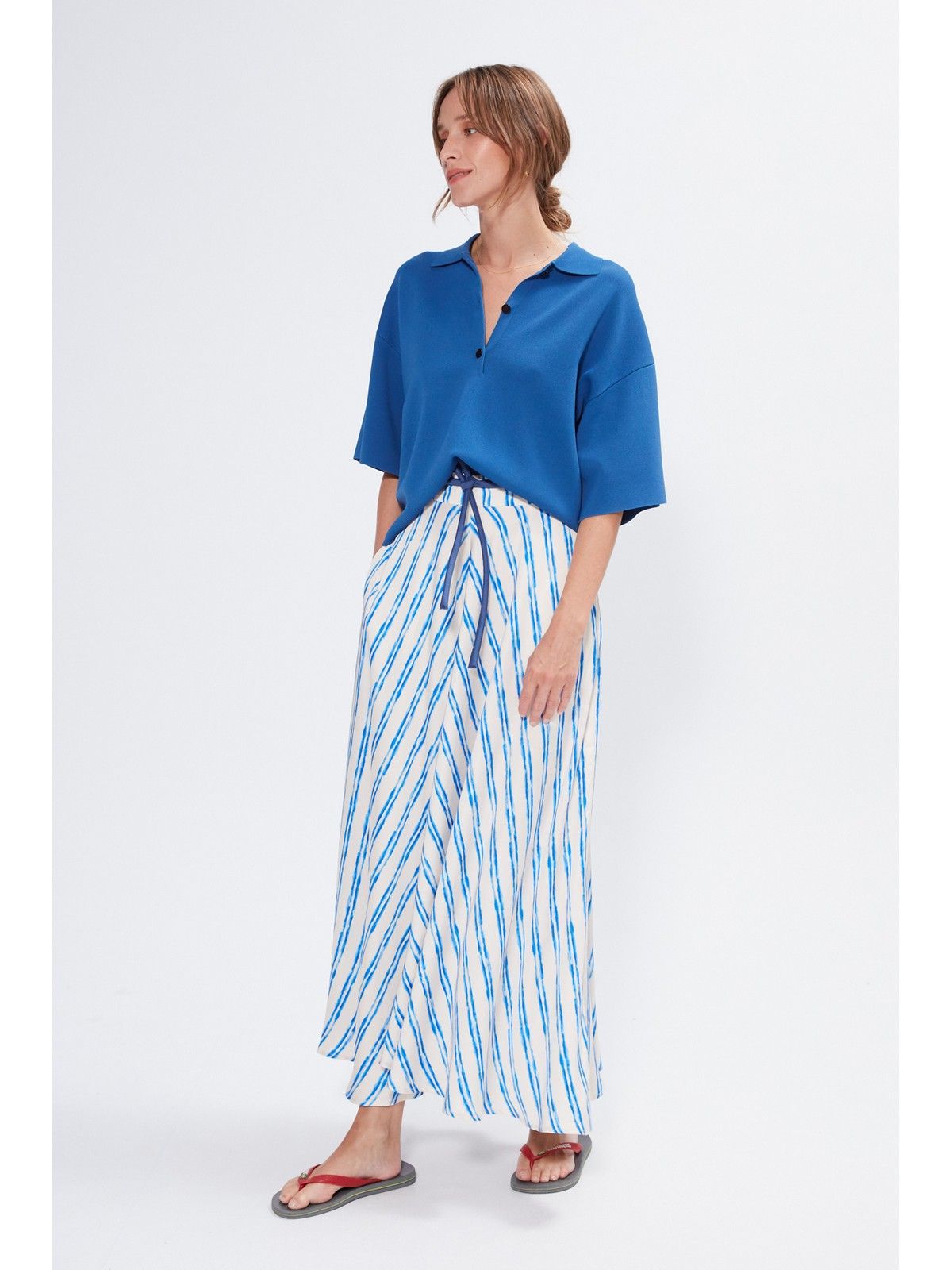 Rok lang wijd stripe - Berry - Julia June
